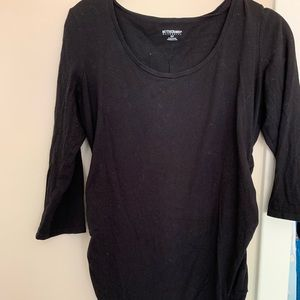 Solid black maternity top 3/4 sleeve